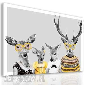 braz na płótnie - 120x80cm rodzina jeleni, rodzice, córka i syn 02353, jelonki