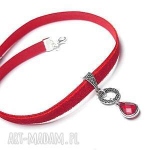 Choker - red - choker, aksamitka, metal