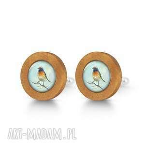 spinki do mankietów kolorowy ptak - drewniane mankietów