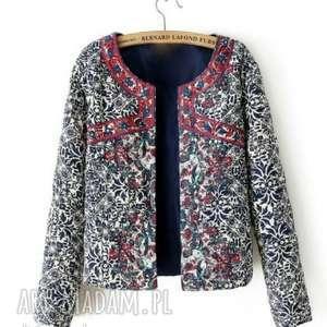 haftowany folkowy kubraczek - żakiet, płaszcz, rower, kurtka, kubraczek, sweter