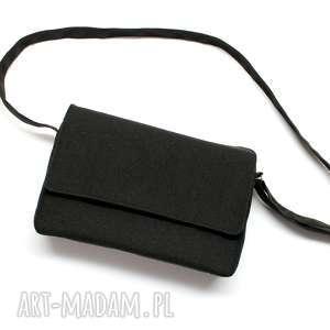 handmade święta prezenty listonoszka z klapką - tkanina czarna