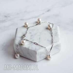 srebrna bransoletka z prawdziwymi perłami, srebro, perły, biżuteria pereł