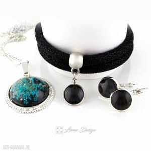 Komplet Glam - medalion / kolczyki bransoletka, medalion, wisiorek, naszyjnik