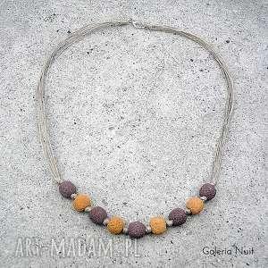 Pudrowy fiolet II - naszyjnik z lawy, miodowy, lawendowy, len, lekki, naturalny