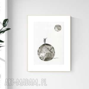 grafika a4 malowana ręcznie, minimalizm, abstrakcja czarno-biała, 2476582