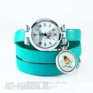 zegarek, bransoletka - kolorowy ptaszek turkusowy, skórzany