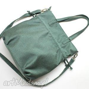 handmade na ramię shopper bag sack - tkanina zielona