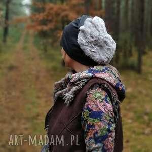 czapka unisex szara dzianina miękka sztuczne futro handmade, czapka, etno, boho