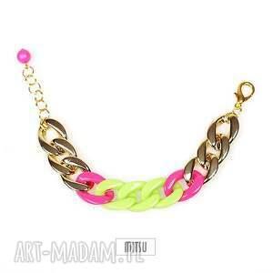 Bransoleta Neon Magnet vol2a, łańcuch, neon, neonowe, róż, zieleń, złote