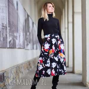 spódnice iryda twarze spódnica rozkloszowana z kieszeniami, spódnica, print