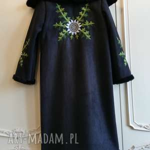 piękny kożuch folk design w hafty czarny, góralski