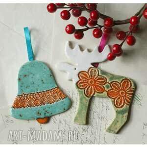 ceramika zestaw mikołajkowy xiii, ceramika, dzwonek, renifer, święta, mikołajki