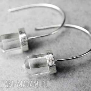 925 Srebrne kolczyki Kryształ górski - ,kamień,kryształ,górski,925,srebo,kobiece,