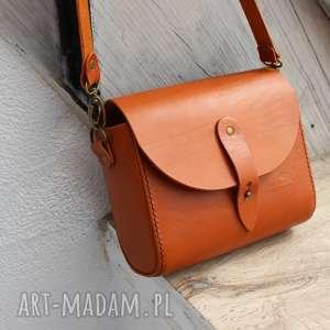 ręcznie wykonana skórzana torebka damska matilda (kolor koniakowy), skóra