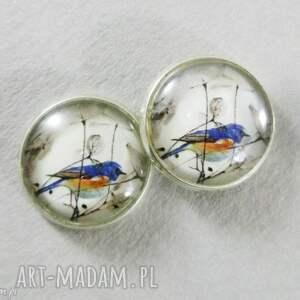 ptaszki - sztyfty 16 mm, ptak, ptaszek, kolczyki, sztyfty, szklane, ptaszki