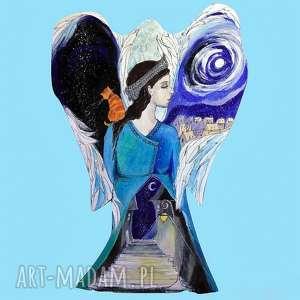 anioł na dobranoc obraz farbami akrylowymi drewnie artystki adriany laube