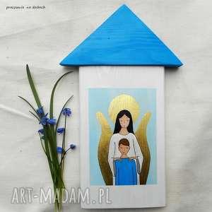 Prezent Obrazek na pamiątkę Pierwszej Komunii Świętej dla chłopca, anioł-stróż,