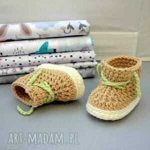 buciki carleton, buciki, dla niemowlaka, dziergane, bawełniane, prezent, trampki