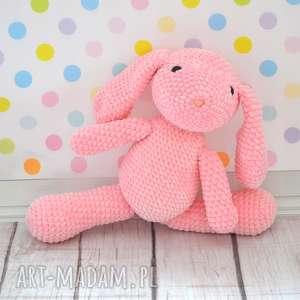 Szydełkowy króliczek z dedykacją różowy - duży, królik, zając, szydełkowy, dedykacja