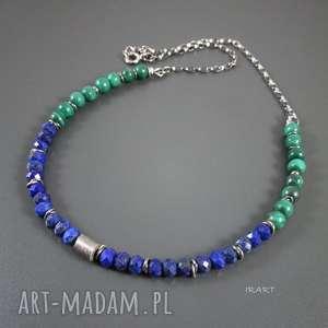 Lapis lazuli z malachitem, srebro, lapis, malachit