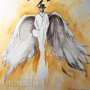 anioł nad miastem akwarela z dodatkiem piórka artystki adriany laube - anielski