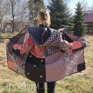 płaszcz patchworkowy długi z kapturem - waciak (płaszcz patchwork, folk boho)