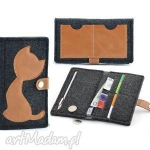 Portfel Filcowy ze skórzanym Kotem - MIDI- Grafitowy z Rudym, portfel, portmonetka
