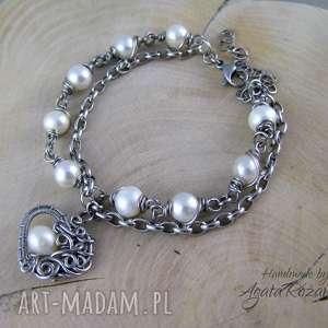 bransoletka z perłami, serce, wire wrapping, bransoletka, perły, ślub, wrapping