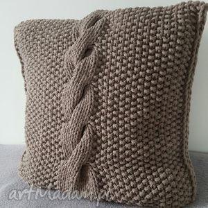 poduszka ze sznurka bawełnianego warkocz handmade wyjątkowa beż, poduszka, beż
