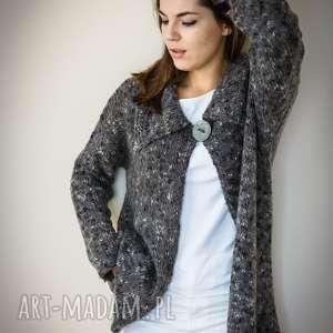 Luźny rozpinany sweter, wełna, luźny, ciepły, sweter-rozpinany