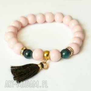 black pearl cat bransoleta tropical nude, emerald tassel, zawieszka, chwost