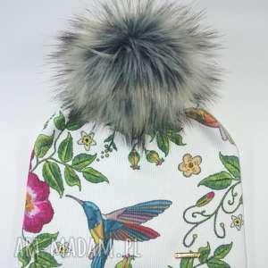 czapka beanie pompon z futra - kolibry, ptaki, nadruk, czapa, czapka, pompon