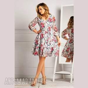 pod choinkę prezent, sukienka neva mini amorina, mini, w kwiaty, rozkloszowana