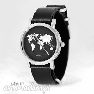 handmade zegarki zegarek, bransoletka - mapa świata, czarno - biała - czarny, skórzany, nato