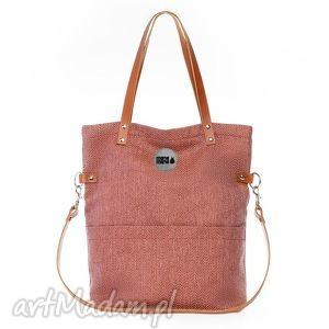 torba damska cube jodełka #carmel, mana mana, plecionka, jodełka, pomarańczowa