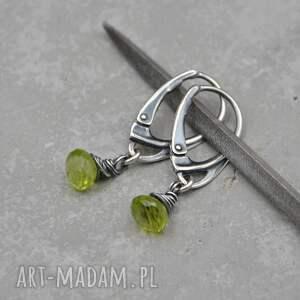 peridot drobne zielone kolczyki 101, srebro, peridot, oliwin, perydot
