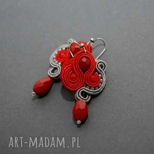 kolczyki sutasz, sznurek, eleganckie, wiszące, małe, grafitowe, koraliki