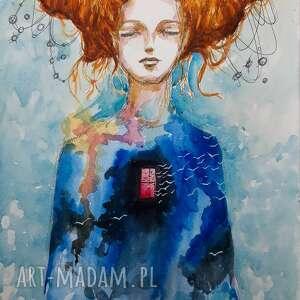 bogini akwarela artystki adriany laube - postać fantasy, akwarela, portret