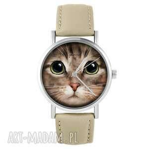 hand made zegarki zegarek yenoo - kot tygrysek skórzany, beżowy