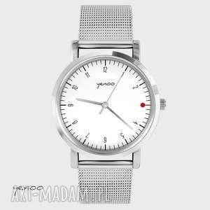 zegarki zegarek, bransoletka - simple elegance, biały, bransoleta, metalowa