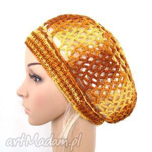 bawełniany ażurowy beret żółto-brązowy, beret, czapka, czapeczka, ażur, bawełna