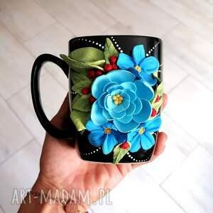 ceramika kubek blue flowers, niebieskie kwiaty, na prezent, dla mamy