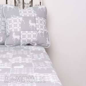 Narzuta grey deer 115x195cm patchwork koce i narzuty majunto