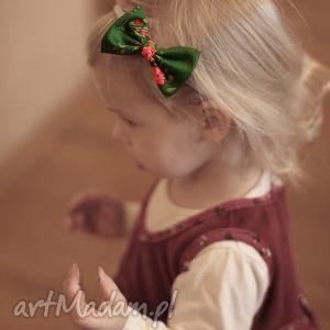 Opaska lady z kokardką - zielony góralski wzór ozdoby do włosów