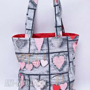 Torba na zakupy szoperka serca retro czerwona podszewka, torba, zakupy,