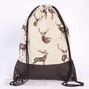 Skórzany Jeleń, toba, plecak, worek, jeleń, ekoskóra