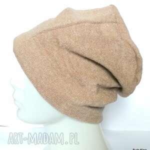 czapka damska męska unisex beżowa gładka ciepła, czapka, damska, męska, zimowa