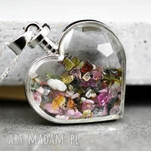 madamlili 925 srebrny naszyjnik mix kamieni, serce, miłość, srebro, srebrny