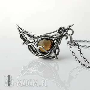 watra - srebrny naszyjnik z kwarcem dymnym - naszyjnik wire wrapping naszyjnik