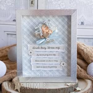 ramka z anioŁkiem strÓŻem, pamiĄtka narodzin, chrztu, komunii